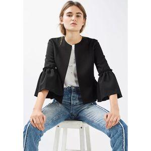 Topshop Bell Sleeve Frill Crop Blazer Jacket